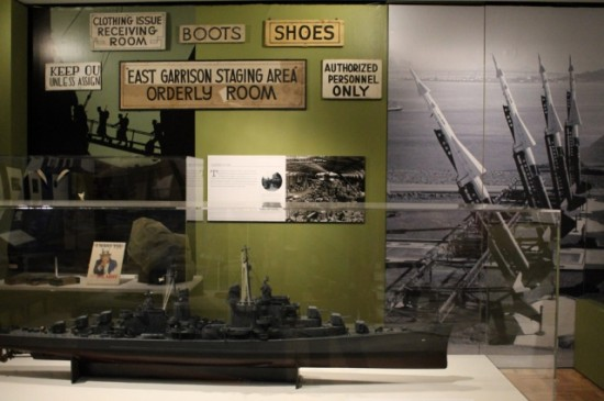 Military Landscapes: Heyday of the Military - In a section on the militarized landscapes around the Bay, artifacts from OMCA's collection and loans from the garrisons on Angel Island are mixed with historic images to illustrate stories of shipbuilding, weapons installations, and military bases.