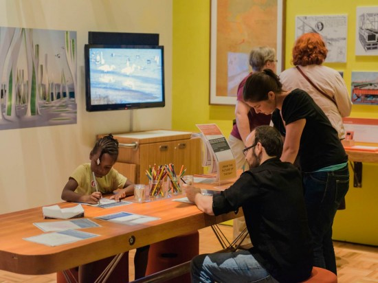 The Futures Lounge is a flexible space, designed for mediated and unmediated experiences. When there are no programs, visitors peruse vintage images of what people once imaged the future of the Bay might look like, and are offered the chance to draw their own future visions. On Friday evenings, the space is a lively spot for expert-led discussions of current and controversial issues in the news.